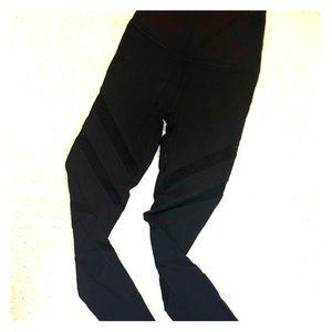 Black leggings with mesh detailing